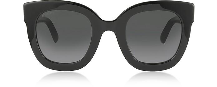 Black Oversized Acetate sunglasses w/Stars - Gucci