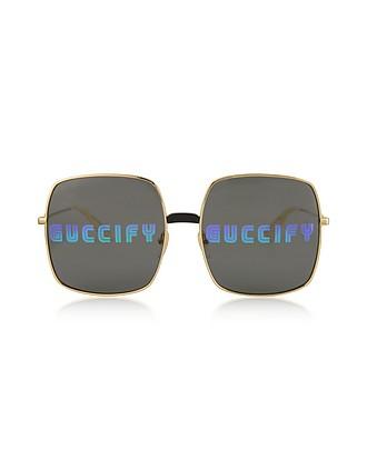 c839b725b9 Rectangular-frame Metal Sunglasses w Guccify Print - Gucci