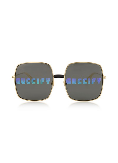 Rectangular-frame Metal Sunglasses w/Guccify Print - Gucci