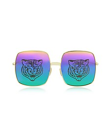 Rectangular-frame Metal Sunglasses w/Tiger Print