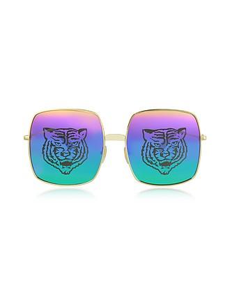 5db43425934 Rectangular-frame Metal Sunglasses w Tiger Print - Gucci