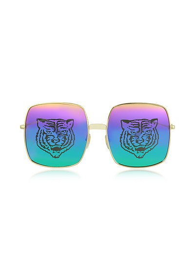Rectangular-frame Metal Sunglasses w/Tiger Print - Gucci