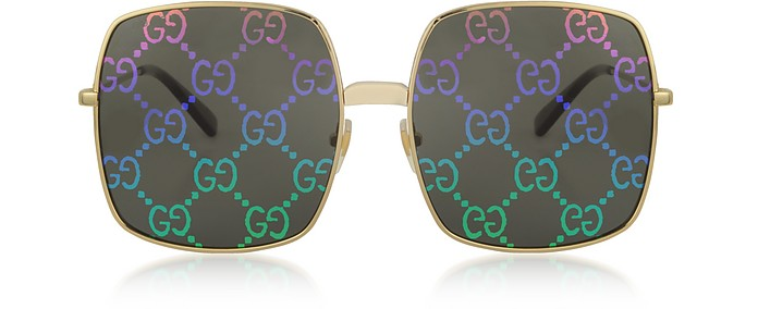 Rectangular-frame Metal Sunglasses w/ GG Pattern Lenses - Gucci / グッチ