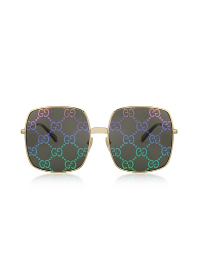 Rectangular-frame Metal Sunglasses w/ GG Pattern Lenses - Gucci