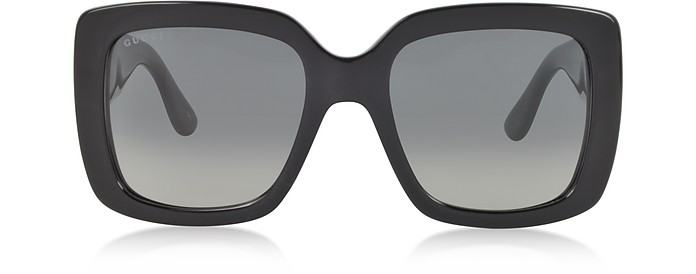 Black Oversized Square Frame Women's Sunglasses - Gucci
