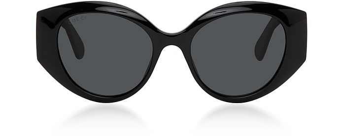 Black Oversized Cat Eye Women's Sunglasses w/Quilted Effect Temples - Gucci