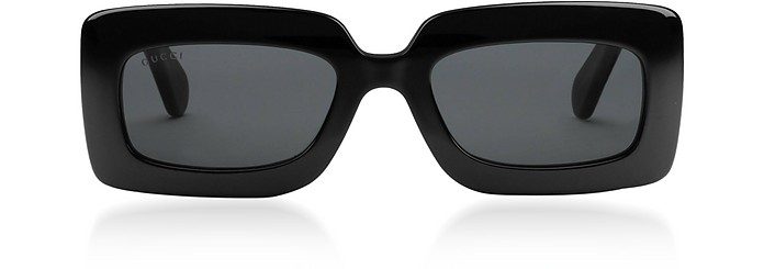 Black Rectangular Slim Frame Women's Sunglasses w/Quilted Temples - Gucci