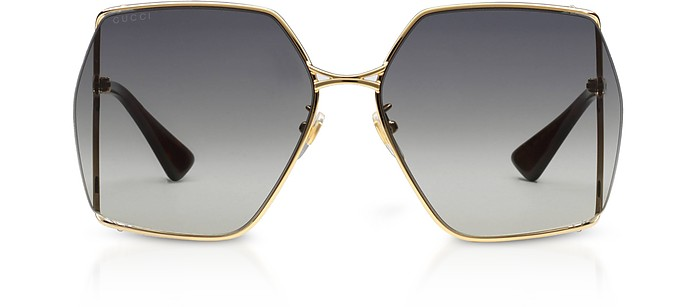 Graphic Oversized Thin Gold-tone Metal Frame Women's Sunglasses w/Grey Lenses - Gucci