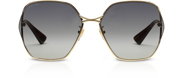 Round Oversized Thin Gold-tone Metal Frame Women's Sunglasses w/Grey Lenses - Gucci