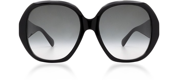 Round Oversized Black Acetate Frame Women's Sunglasses w/Grey Lenses - Gucci