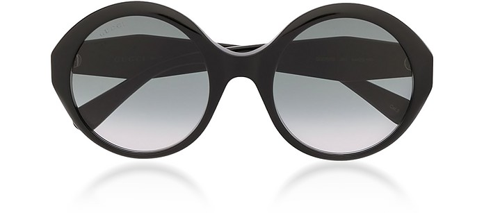 Round Black Acetate Frame Women's Sunglasses w/Grey Lenses - Gucci / グッチ