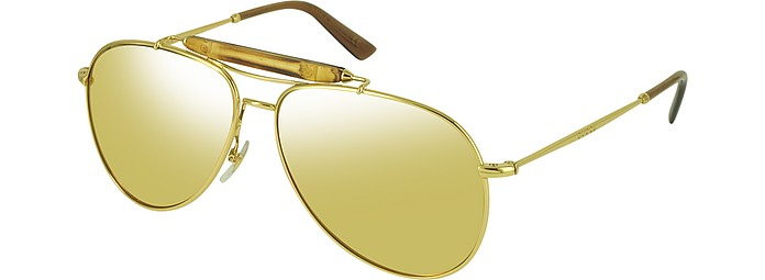 9a92b564b1 Gucci Gold Gradient Gold GG 2235 N S 705IJ Gold Plated Aviator with ...