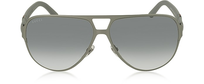 389f4ade2a05 Gucci Chrome/Smoke GG 2252/S 4UYIC Light Steel Aviator Men's ...