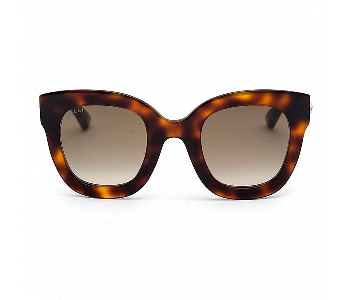 Havana Brown Oversized Acetate sunglasses w/Stars - Gucci
