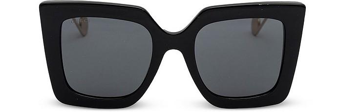 Black Acetate Women's Oversized Sunglasses - Gucci