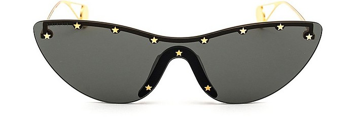 Black Women's Cat-Eye Sunglasses w/Stars - Gucci