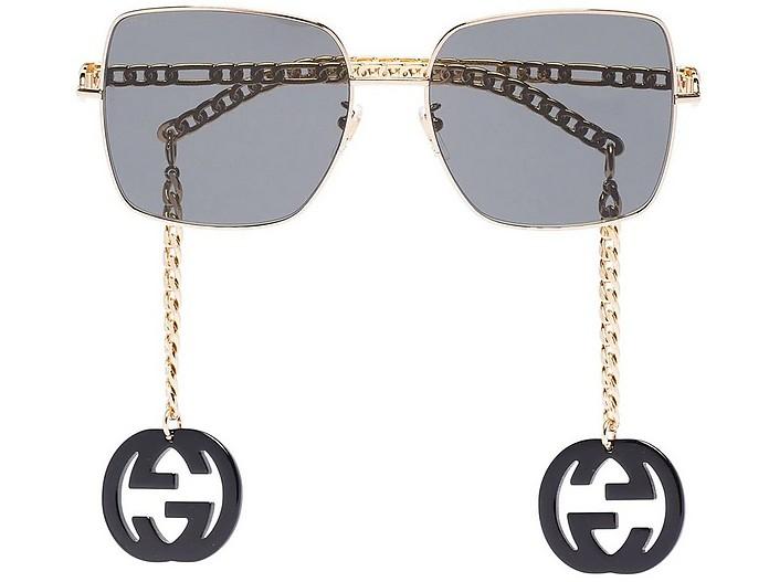 Square-frame GG Logo Charm Sunglasses - Gucci