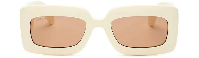 Ivory GG Logo Quilted Rectangular Acetate Women's Sunglasses - Gucci