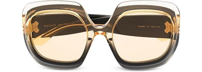 Black/Yellow/Transparent Square-Frame Acetate Women's Sunglasses - Gucci