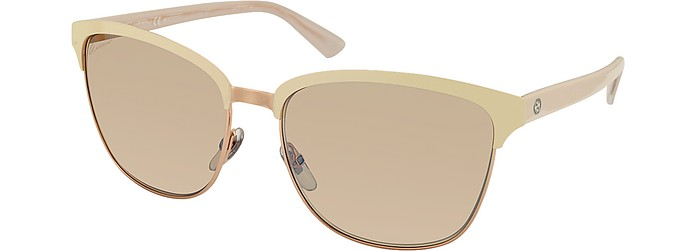 dfba19e598 Gucci Pink   Gradient Brown GG 4271 S Acetate and Metal Sunglasses ...