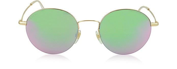GG 4273/S DDB3E Gold Steel & Metal Round Frame Sunglasses - Gucci