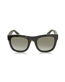 GG 1100/S H30HA Dark Havana Acetate Rectangle Sunglasses w/Red & Green Web Detail