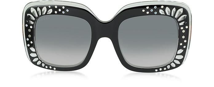 bd9d9ed3e21 GG 3862 S YL1VK Black Acetate Oversized Square Frame Women s Sunglasses w Rhinestone  Details