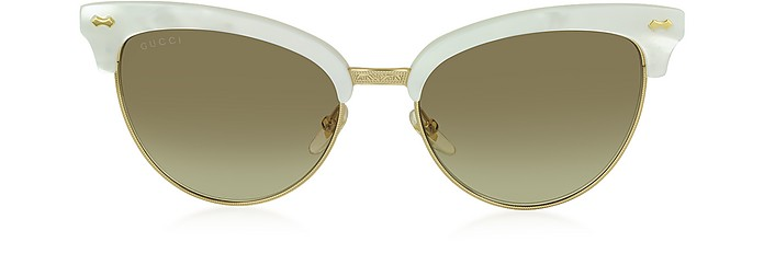GG 4283/S U29JD White Acetate & Gold Metal Cat Eye Women's Sunglasses - Gucci