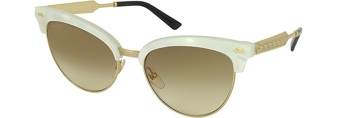b173ef35c50ec GG 4283 S U29JD White Acetate   Gold Metal Cat Eye Women s Sunglasses -  Gucci. kr 2