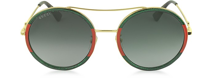 7ba43682a1f GG0061S Acetate and Gold Metal Round Aviator Women s Sunglasses - Gucci