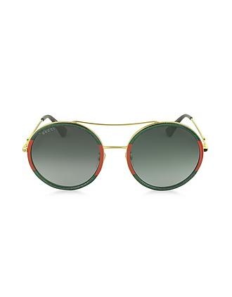 a0993b1edfa GG0061S Acetate and Gold Metal Round Aviator Women s Sunglasses - Gucci