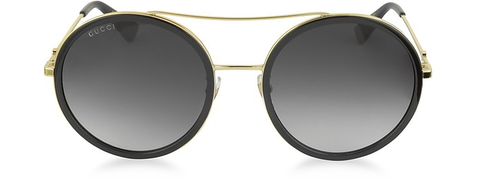 bedf26ed2dd GG0061S Acetate and Gold Metal Round Aviator Women s Sunglasses - Gucci
