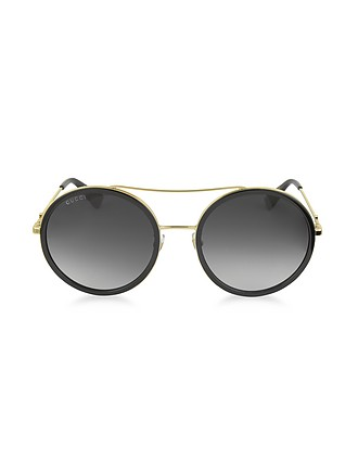 727230ff49c GG0061S Acetate and Gold Metal Round Aviator Women s Sunglasses - Gucci