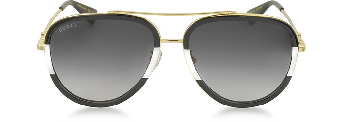 GG0062S 006 Black/White Acetate and Gold Metal Aviator Women's Sunglasses - Gucci