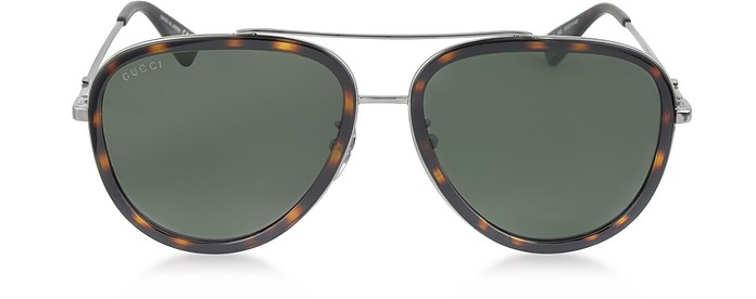 Gg0062S 002 Havana Acetate And Silver Metal Aviator Women'S Sunglasses in Havana/ Green