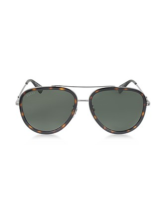 39a97044287 GG0062S 002 Havana Acetate and Silver Metal Aviator Women s Sunglasses -  Gucci