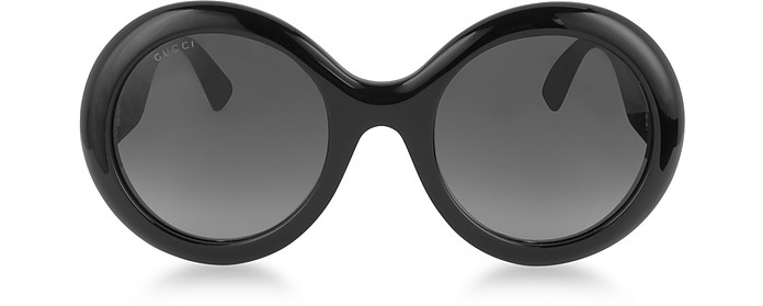 GG0101S Acetate Round Women's Sunglasses w/Glitter Temples - Gucci