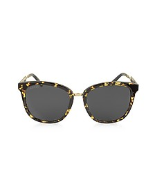GG0073S Acetate and Gold Metal Round Women's Sunglasses - Gucci / グッチ