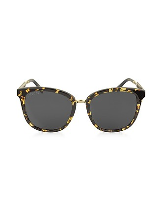 f0d5d93bbbc GG0073S Acetate and Gold Metal Round Women s Sunglasses - Gucci