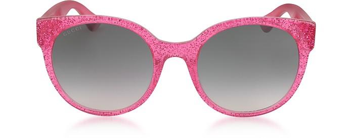 GG0035S 005 Fuchsia Glitter Optyl Round Women's Sunglasses - Gucci