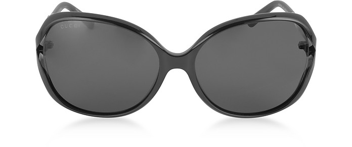 GG0076S 001 Black Acetate and Gold Metal Round Oversized Women's Sunglasses - Gucci