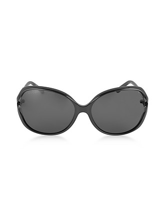 a554f1420e GG0076S 001 Black Acetate and Gold Metal Round Oversized Women s Sunglasses  - Gucci