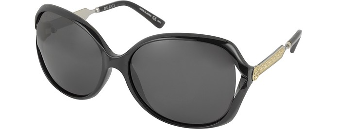 d0050d1ab3a Gucci GG0076S 001 Black Acetate and Gold Metal Round Oversized Women s  Sunglasses at FORZIERI