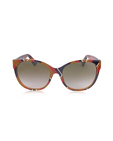 GG0097S 004 Chevron Acetate Cat Eye Women's Sunglasses - Gucci