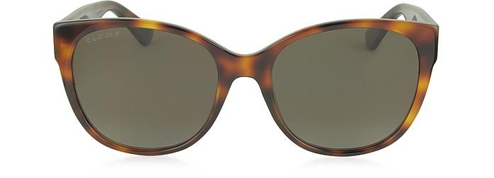 GG0097S 006 Havana Acetate Cat Eye Women's Polarized Sunglasses - Gucci