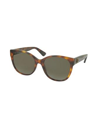 227c0205a957d Gucci GG0097S 006 Havana Acetate Cat Eye Women s Polarized Sunglasses at  FORZIERI