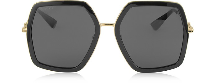 GG0106S 001 Black Acetate and Gold Metal Square Oversized Women's Sunglasses - Gucci / グッチ