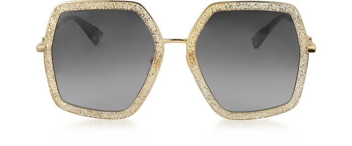 4cedb3b64be GG0106S 005 Gold Glitter Acetate and Metal Square Oversized Women s  Sunglasses - Gucci