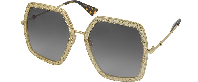 bf5cbc4523786 Gucci GG0106S 005 Gold Glitter Acetate and Metal Square Oversized Women s  Sunglasses at FORZIERI Canada
