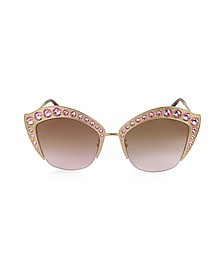 GG0114S Metal Cat Eye Women's Sunglasses w/Crystals - Gucci / グッチ